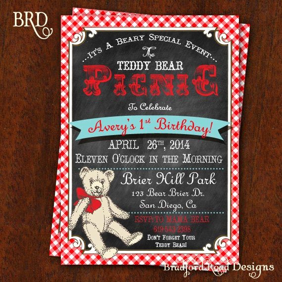 Teddy Bears Picnic Invitation New Teddy Bear Picnic Invitation Chalkboard & Red and White