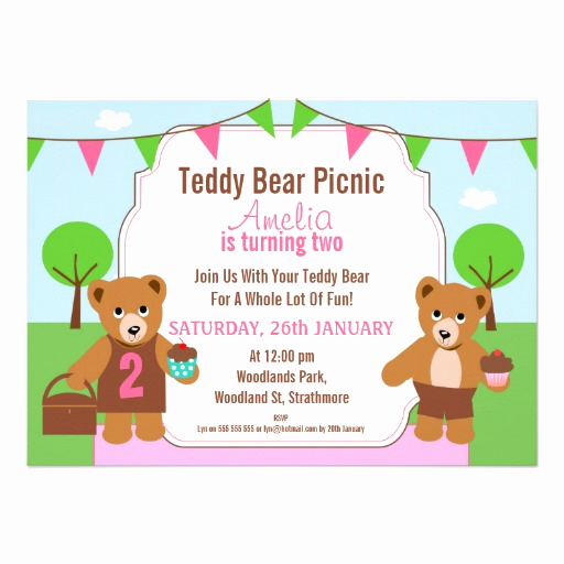 Teddy Bears Picnic Invitation Unique Girl S Teddy Bear Picnic Birthday Party Invitation