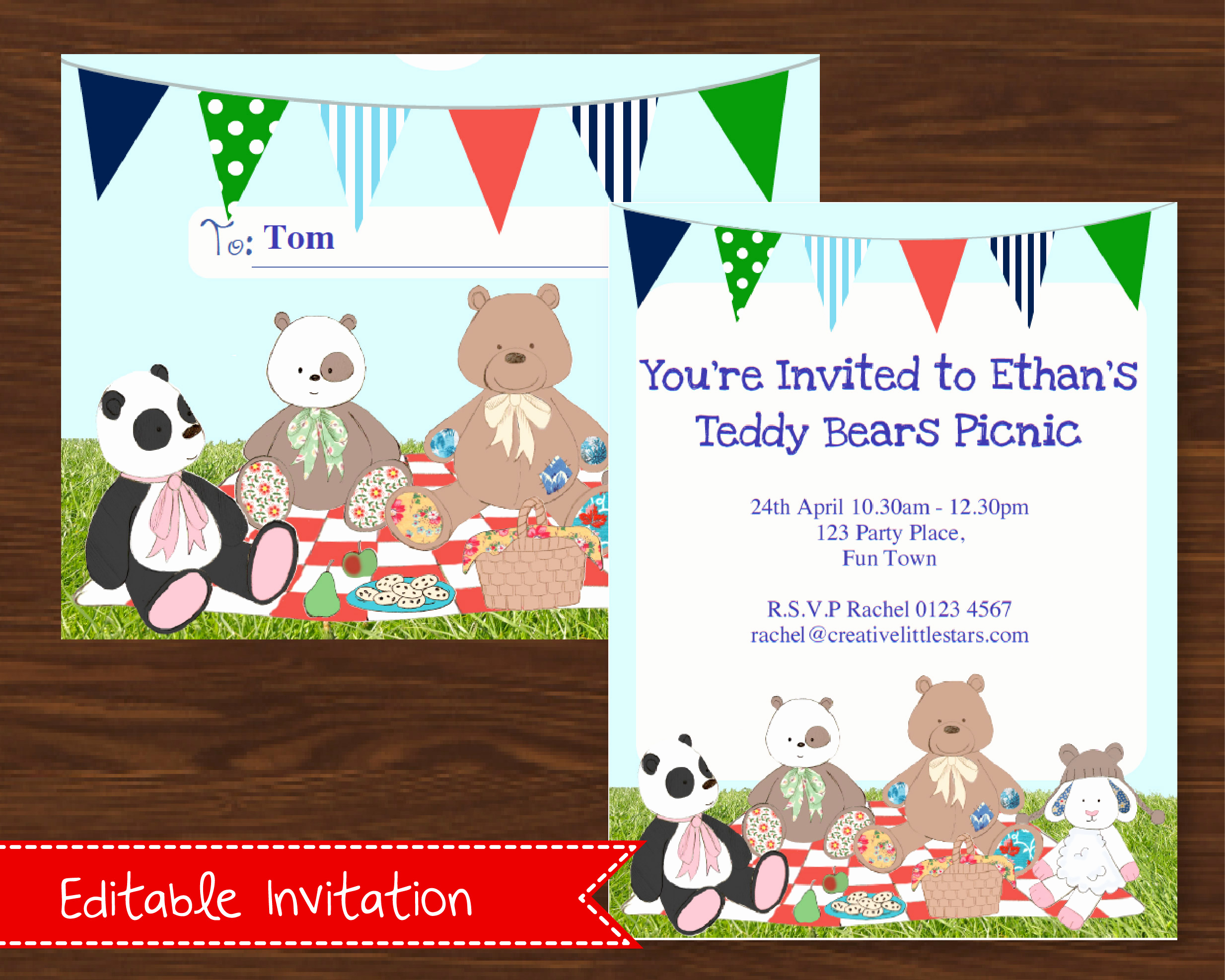 Teddy Bears Picnic Invitation Unique Printable Teddy Bears Picnic Invitation Blue Creative