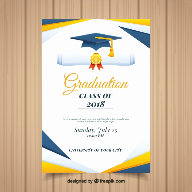 Template for Graduation Invitation Inspirational Colorful Graduation Invitation Template with Flat Design