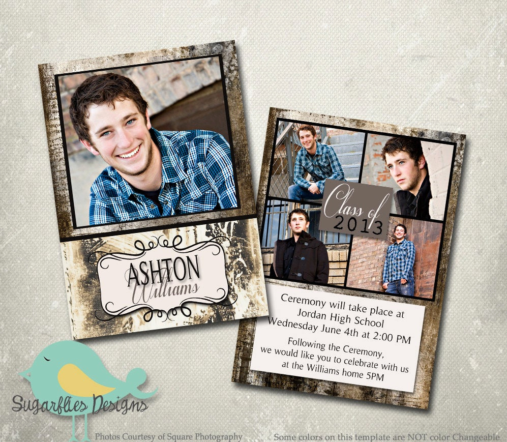 Template for Graduation Invitation Unique Graduation Announcement Photoshop Template Senior Graduation