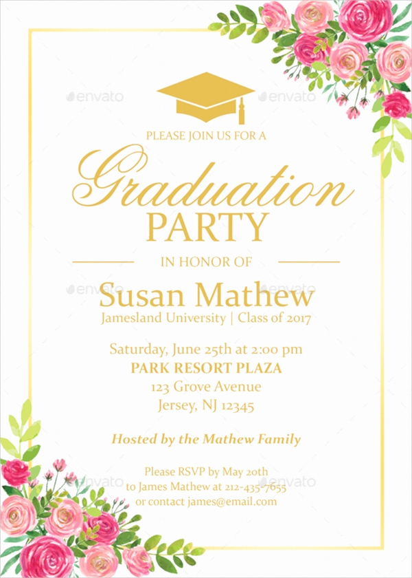Template for Graduation Party Invitation Beautiful 22 Sample Graduation Invitations Psd Vector Eps Word