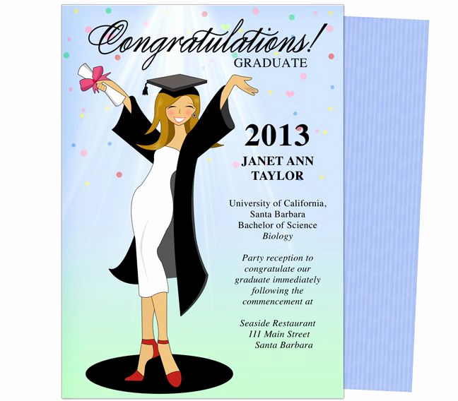 Template for Graduation Party Invitation Elegant Cheer for the Graduate Graduation Party Announcement