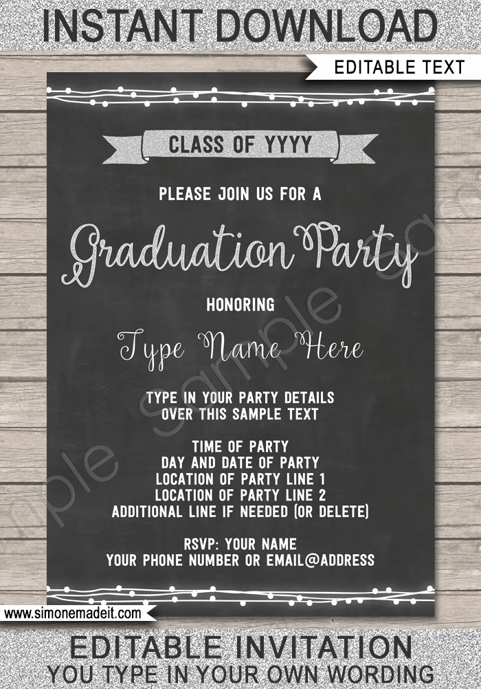 Template for Graduation Party Invitation Elegant Graduation Party Invitation