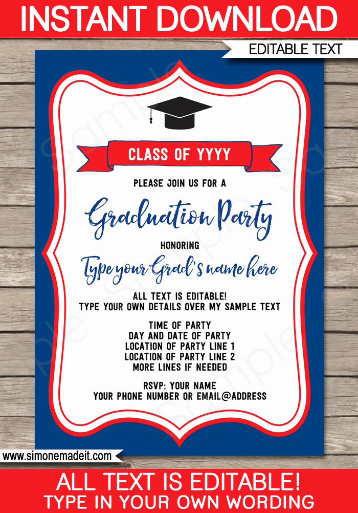 Template for Graduation Party Invitation Elegant Graduation Party Invitations Template