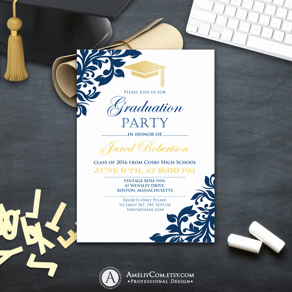 Template for Graduation Party Invitation Unique Graduation Party Invitation Сollege Printable Template Boy