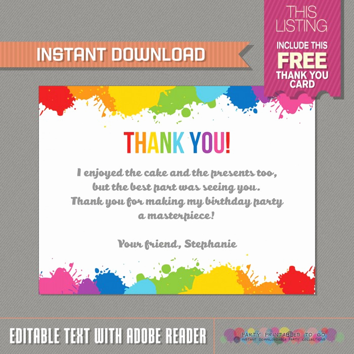Thank You Letter for Invitation Awesome Art Party Invitation with Free Thank You Card Art