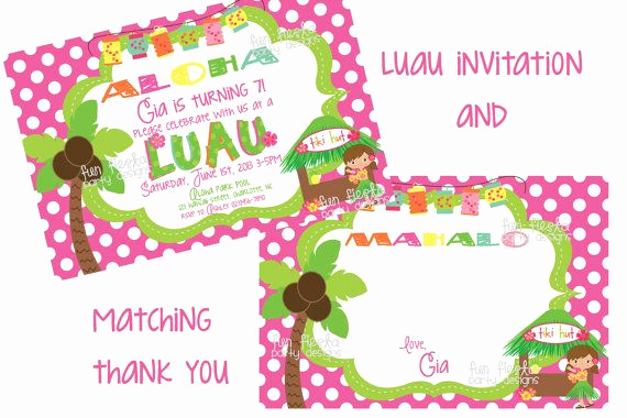 Thank You Letter for Invitation Beautiful Luau Party Invitation and Matching Thank You Note