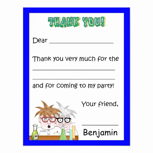 Thank You Letter for Invitation Beautiful Science Birthday Party Thank You Note Chemistr 4 25x5 5