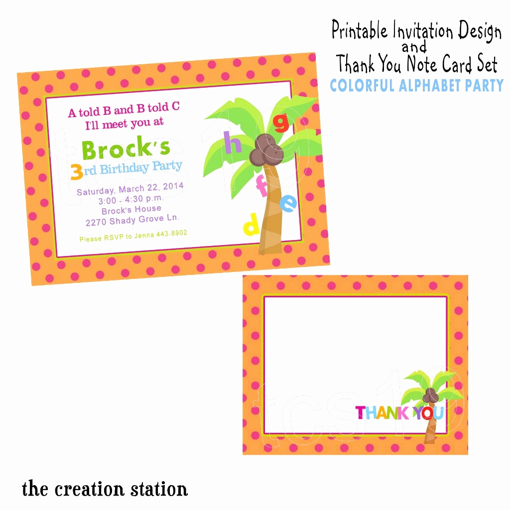 Thank You Letter for Invitation Best Of Printable Invitation & Thank You Note Set Colorful Alphabet