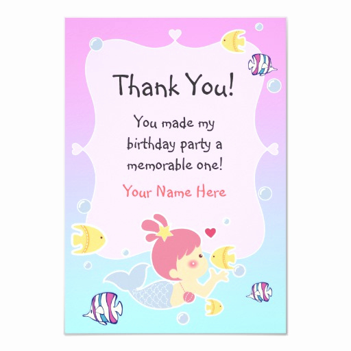 Thank You Letter for Invitation Lovely Thank You Note Mermaid theme Birthday Party Custom