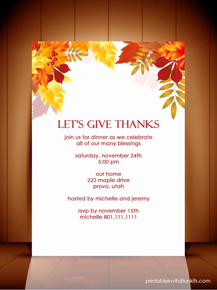 Thanksgiving Invitation Templates Free Word Awesome Thanksgiving Dinner Autumn Invitation Template ← Wedding