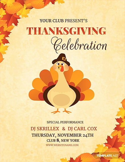 Thanksgiving Invitation Templates Free Word Elegant Free Dj Thanksgiving Flyer Template Download 1423 Flyers