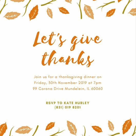 Thanksgiving Invitation Templates Free Word Inspirational Customize 108 Thanksgiving Invitation Templates Online
