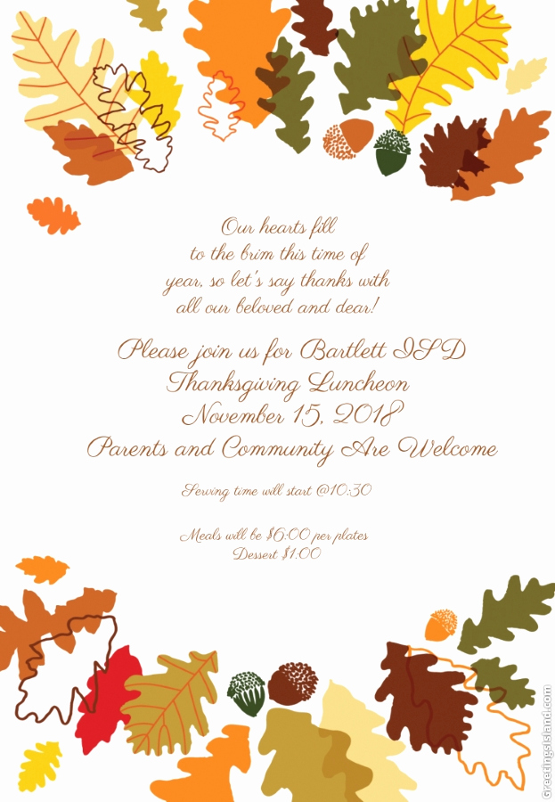 Thanksgiving Invitation Templates Free Word Unique Home Bartlett Independent School District