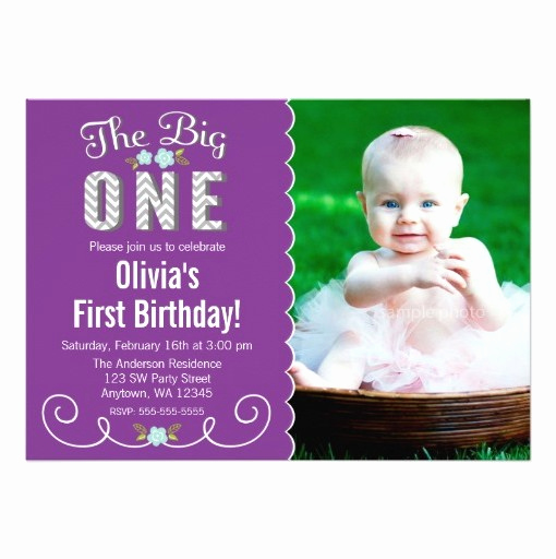 The Big One Birthday Invitation Beautiful the Big E Chevron Purple 1st Birthday Invitation Card
