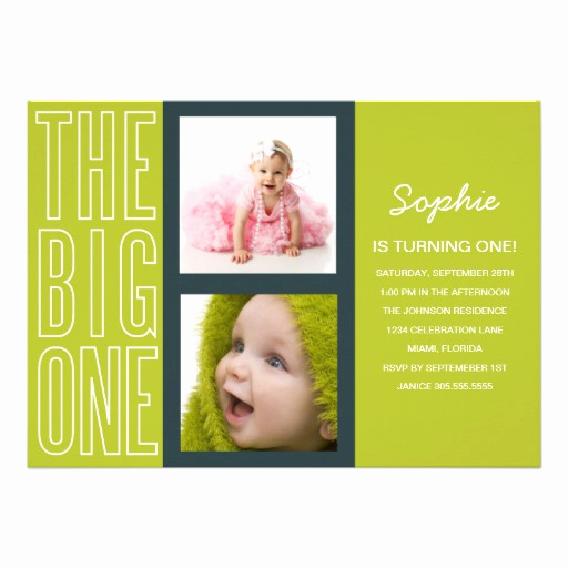 The Big One Birthday Invitation Beautiful the Big One In Green