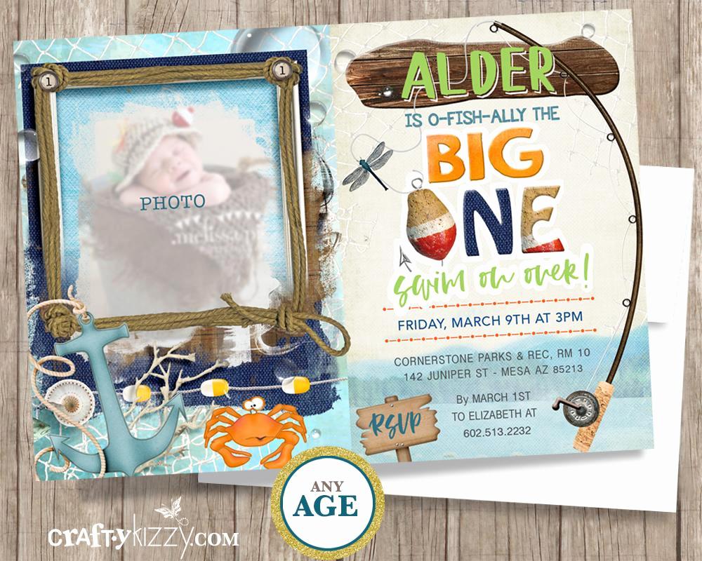The Big One Birthday Invitation Inspirational ishally First Birthday Invitation Fishing Reeling In