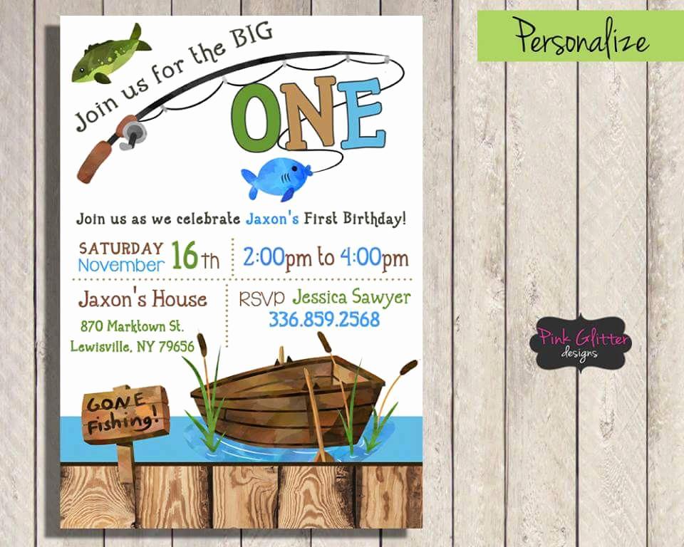 The Big One Birthday Invitation Inspirational the Big E Invite the Big E Invitation Gone Fishing