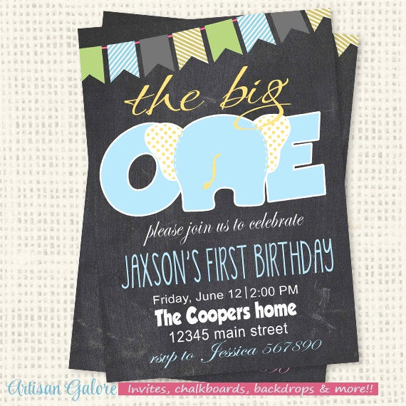 The Big One Birthday Invitation Lovely First Birthday Invitation the Big One Birthday Elephant