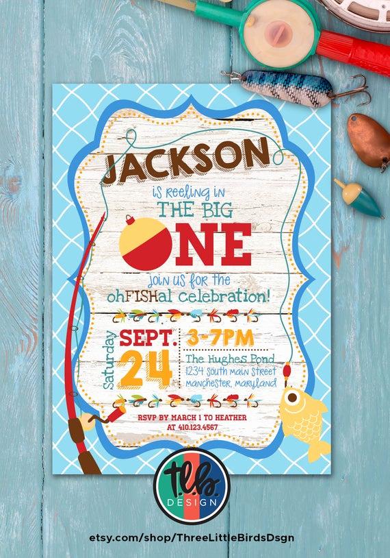 The Big One Birthday Invitation New Big One Invitation Fishing theme Birthday Invite Boy First