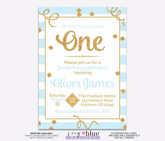 The Big One Birthday Invitation New Blue Gold Boy First Birthday Invitation Gold Glitter 1st