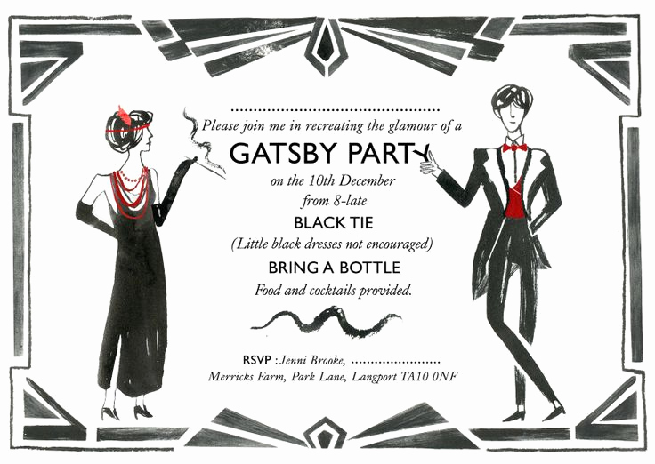 The Great Gatsby Invitation Awesome Not Crazy About the Wording but Nice Graphics
