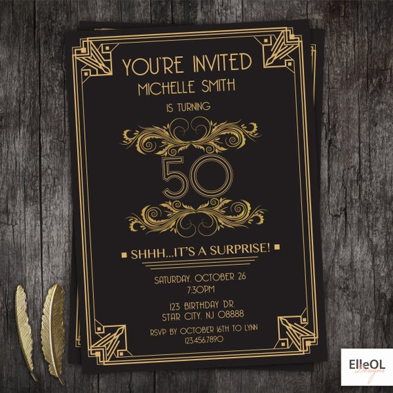 The Great Gatsby Invitation Best Of Great Gatsby Art Deco Birthday Invitation 21st 30th 40th 50th