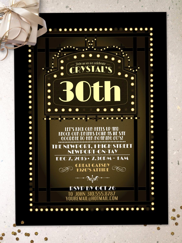 The Great Gatsby Invitation Best Of Great Gatsby Birthday Invitation Roaring 20 S Hollywood