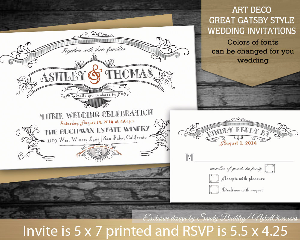 The Great Gatsby Invitation Elegant Diy Great Gatsby Wedding Invitations Set Art by Notedoccasions