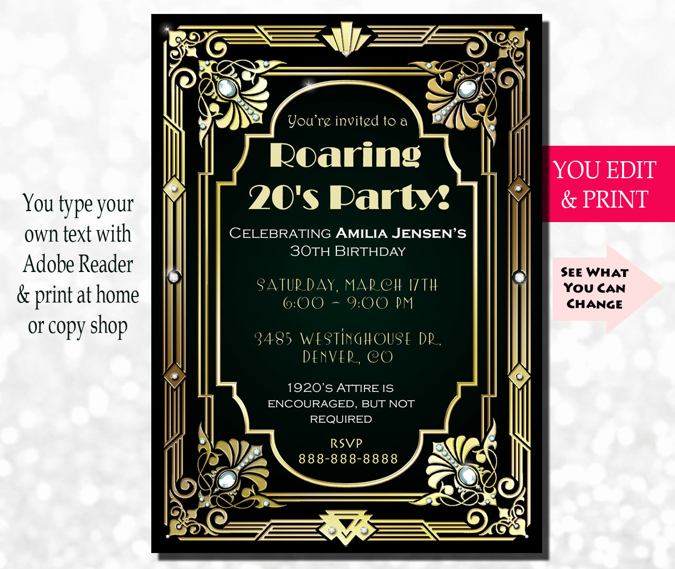 The Great Gatsby Invitation Fresh 30th Birthday Invitation Gatsby Invitation Gatsby Birthday