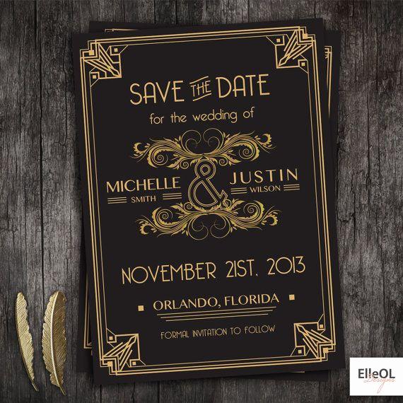 The Great Gatsby Invitation Fresh Great Gatsby Art Deco Wedding Save the Date