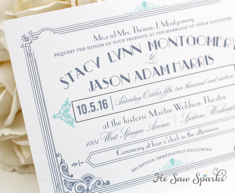 The Great Gatsby Invitation Lovely Art Deco Printable Wedding Invitation the Great Gatsby