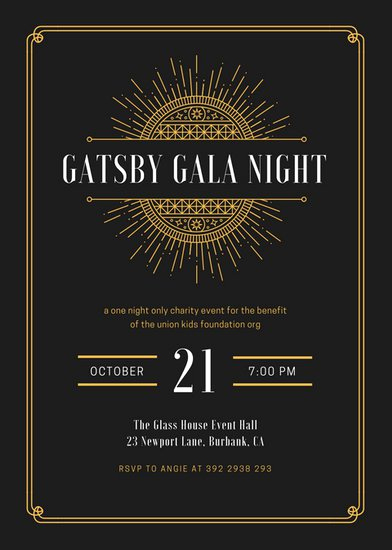 The Great Gatsby Invitation Lovely Customize 204 Great Gatsby Invitation Templates Online