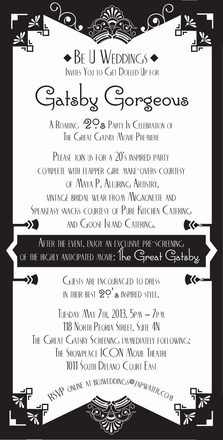 The Great Gatsby Invitation Luxury 17 Best Images About Great Gatsby Graphics On Pinterest