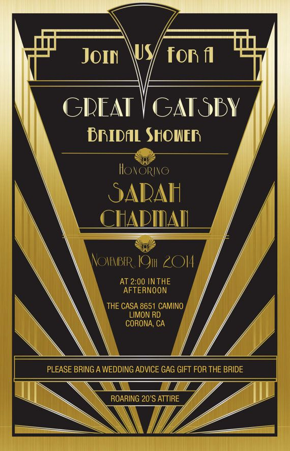 The Great Gatsby Invitation Luxury Great Gatsby Invitation Gold Set Of 25