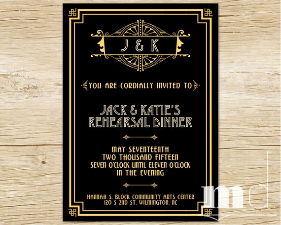 The Great Gatsby Invitation Luxury Great Gatsby Rehearsal Dinner Invitation Gatsby Wedding