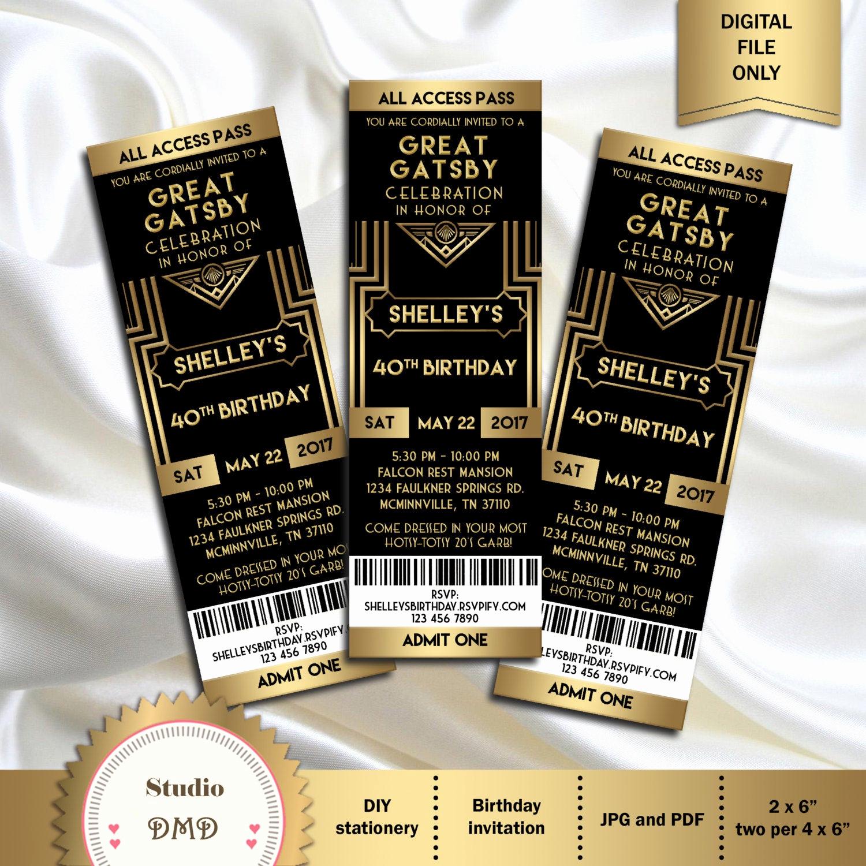 The Great Gatsby Invitation Luxury Great Gatsby Style Art Deco Party Invitation Prom
