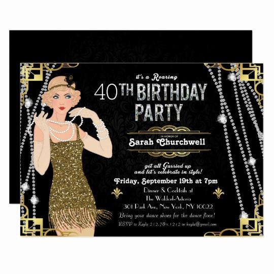 The Great Gatsby Invitation Unique Great Gatsby Flapper Girl Birthday Invitation