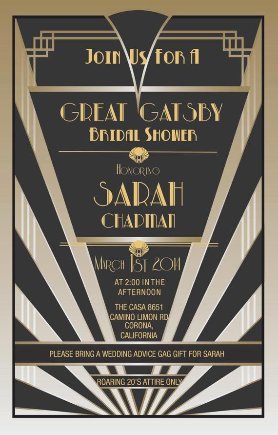 The Great Gatsby Invitation Unique Items Similar to Great Gatsby Invitations