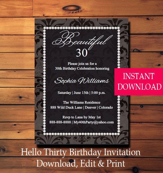 Thirty One Party Invitation Beautiful 30th Birthday Party Invitation Thirty Birthday 30th