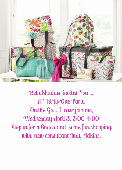 Thirty One Party Invitation Best Of Beth Skudder and Judy Adkins Thirty E Party Line