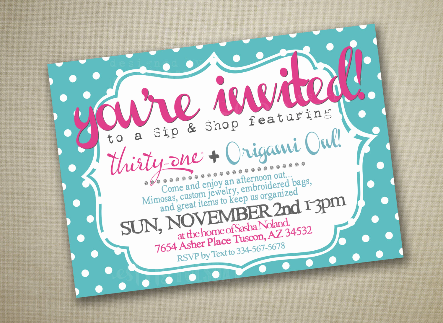 thirty one party invitation