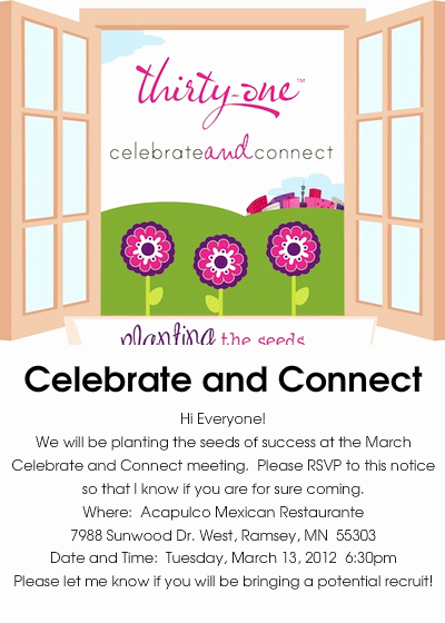 Thirty One Party Invitation Fresh Thirty E Gifts Celebrate and Connect Line Invitations