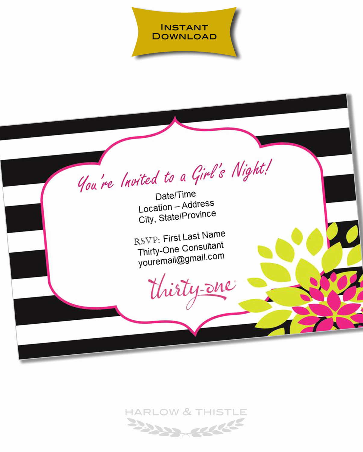 Thirty One Party Invitation Unique Instant Download Thirty E Gifts Invitation Customizable