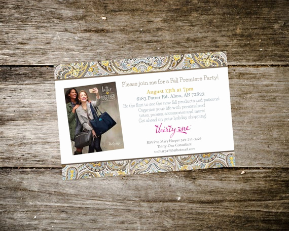 Thirty One Party Invitation Unique Thirty E Party Invite Fall Catalog 2015