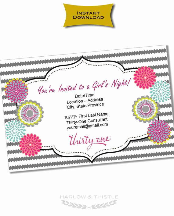 Thirty One Party Invitation Wording Awesome Instant Download Thirty E Gifts Invitation Customizable