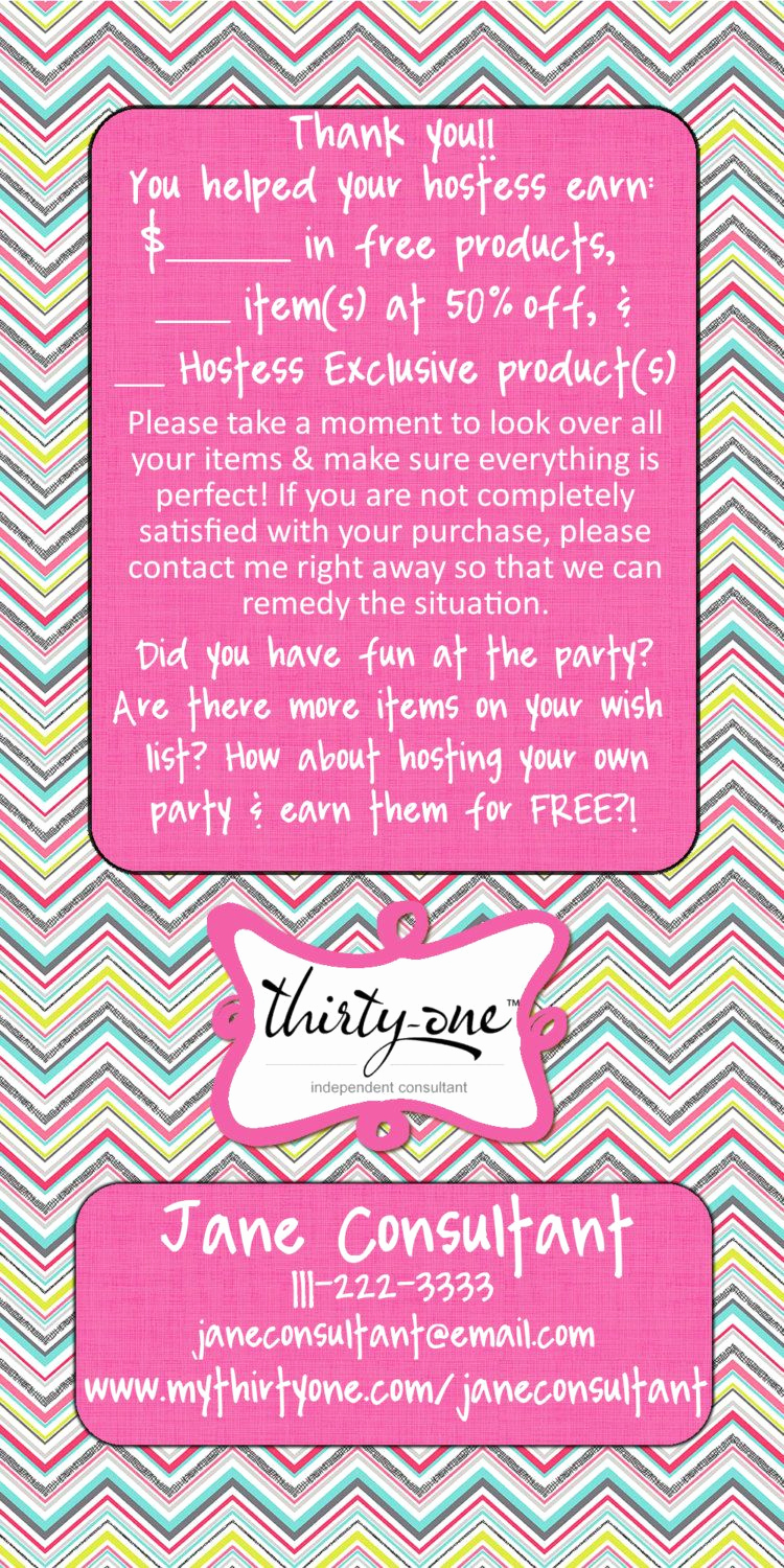 Thirty One Party Invitation Wording Elegant Thirty E Party Punch Thank You Rack Card by