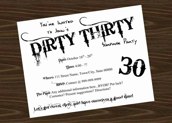 Thirty One Party Invitation Wording Lovely Dirty Thirty Birthday Party Invitation by Littlebitmooredesign