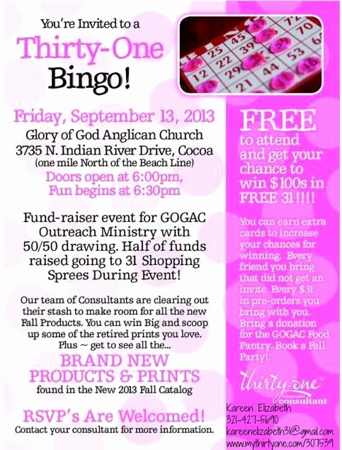 Thirty One Party Invitation Wording Luxury 17 Best Images About Party Bingo On Pinterest